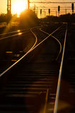 Railway in sunset Royalty Free Stock Photo