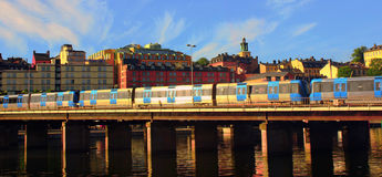 Railway in Sweden. The railway in Sweden is on the bridge Royalty Free Stock Images