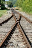 Railway Switch. The old railway track in that part of southern Germany is not used very often any more Stock Photo