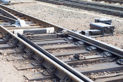 Railway switch detail. The single railway track Royalty Free Stock Image