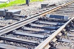 Railway switch detail. The single railway track Royalty Free Stock Photos