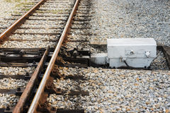 Railway switch detail Royalty Free Stock Photo