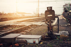 Railway. The railway switch near rails Stock Images