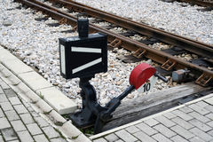 Railway switch. Rail road shunt. Railroad switch Royalty Free Stock Image