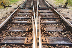 Railway with switch Royalty Free Stock Photography