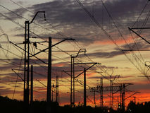 Railway system against the sunset sky Stock Photo