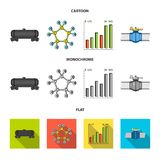 Railway tank, chemical formula, oil price chart, pipeline valve. Oil set collection icons in cartoon,flat,monochrome. Style vector symbol stock illustration vector illustration