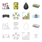 Railway tank, chemical formula, oil price chart, pipeline valve. Oil set collection icons in cartoon,outline style. Vector symbol stock illustration royalty free illustration