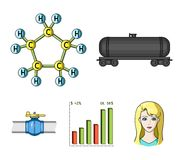 Railway tank, chemical formula, oil price chart, pipeline valve. Oil set collection icons in cartoon style vector symbol Stock Photos