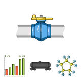 Railway tank, chemical formula, oil price chart, pipeline valve. Oil set collection icons in cartoon style vector symbol. Stock illustration Royalty Free Stock Photography