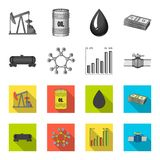 Railway tank, chemical formula, oil price chart, pipeline valve. Oil set collection icons in monochrome,flat style. Vector symbol stock illustration royalty free illustration
