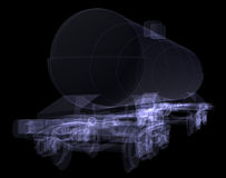 Railway tank. X-ray render Royalty Free Stock Image