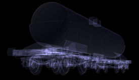 Railway tank. X-ray render Stock Photo