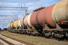 Railway tanks for mineral oil Royalty Free Stock Image