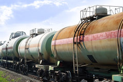 Railway tanks for mineral oil Royalty Free Stock Photo