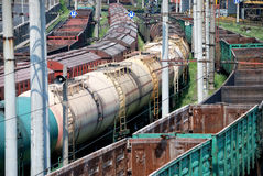 Railway tanks for mineral oil and other cargoes Royalty Free Stock Photos