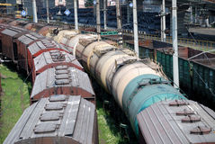 Railway tanks for mineral oil and other cargoes. At station Stock Image