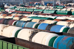 Railway tanks for mineral oil and other cargoes. At shunting yard Stock Image