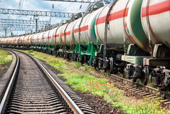 Railway tanks with oil. At day Royalty Free Stock Photography