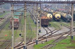 Railway tanks. Old cars and tank trucks are on the train station Stock Images