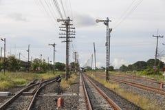 Railway and telegraph poles Stock Photos