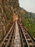 Railway Thai train symbolic at tourist attraction of Thailand. Royalty Free Stock Photography