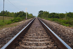 Railway in Thailand. Railway travel by train in the countryside of Thailand Royalty Free Stock Photography
