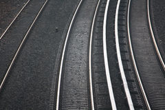 Railway. Three parallel railways without trains Royalty Free Stock Photo