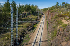 Railway thru the rocks Royalty Free Stock Photos