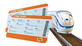 Railway tickets booking and railroad travel concept Royalty Free Stock Image