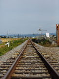 Railway to the distance. Extend the megalosaurus that does not have an end like to the railroad of distance Royalty Free Stock Photography