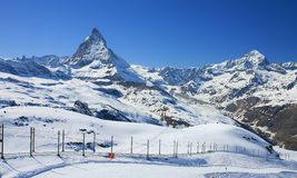 Railway to Gornergrat. Observatory station with Matterhorn in the background stock photo