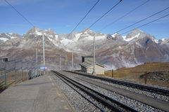 The railway to Gornergrat Bahn with mountain background, Zermatt Switzerland. View from Rotenboden station. The Matterhorn railway to Gornergrat Bahn with stock image