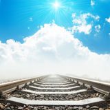 Railway to heaven in clouds and sun Stock Image