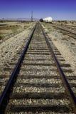 Railway to horizon. Into blue sky Stock Photography