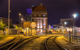 Railway to Kiel seaport - Germany Stock Photo