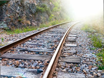 Railway to the Light. As a Concept for Enlightment and Education Stock Photos