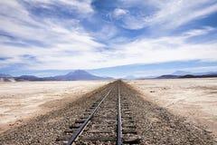 Railway to nowhere. Railway in the desert near Uyuni, Bolivia Stock Images
