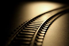 Railway to nowhere. Model Railway with black background Royalty Free Stock Photography