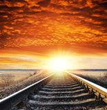 Railway to sunset Royalty Free Stock Image