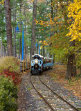 Railway for tourist trips. Along the forest surrounded by autumn trees in red and yellow colors stock photography