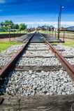 Railway Track. View of a long train railway at Tumpat, Kelantan, Malaysia Stock Photos