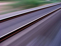 Railway Track. A unique view of a railway track taken from a train. The track still seems to be sharp while rest of the things are in motion Stock Images