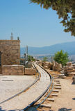Railway track on Acropolis of Athens Royalty Free Stock Images