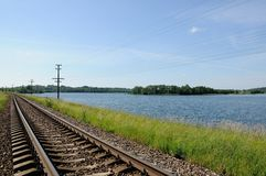 Railway track along the coast of the lake Royalty Free Stock Photo