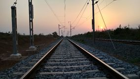 Image of beautiful sunset, picture of railway track Stock Photos