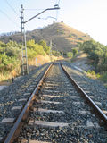 Railway track and castle Stock Photos