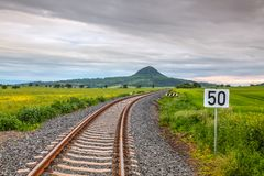 Railway track in Central Bohemian Highlands, Czech Republic. Railway track  in Central Bohemian Highlands, Czech Republic. Central Bohemian Uplands  is a stock image