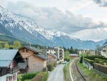 Railway track in Chamonix with mountains stock image