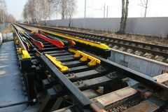 Railway Track and conversion device Stock Photography